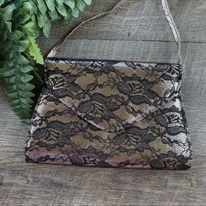 Neiman Marcus Metallic & Black Lace Clutch